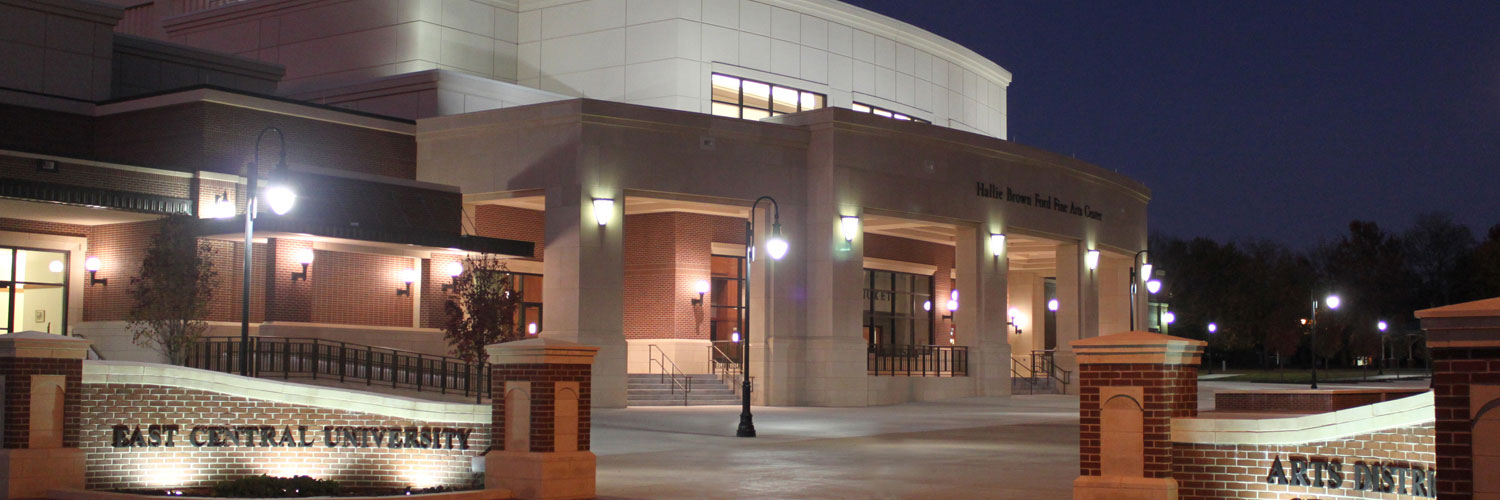 Front of Hallie Brown Ford Fine Arts Building at Night