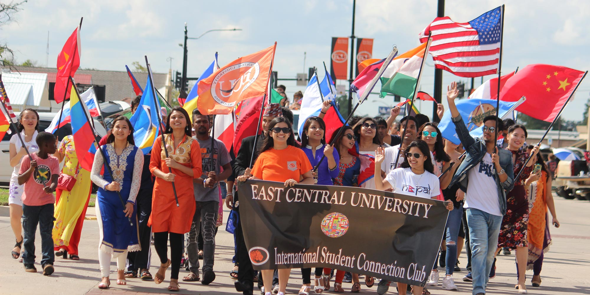 international student connection club members in parade