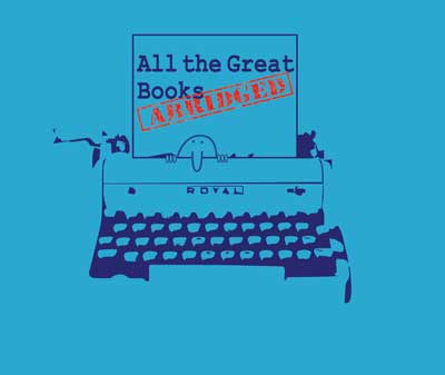 All the Great Books Abridged; Image of Kilroy and typewriter