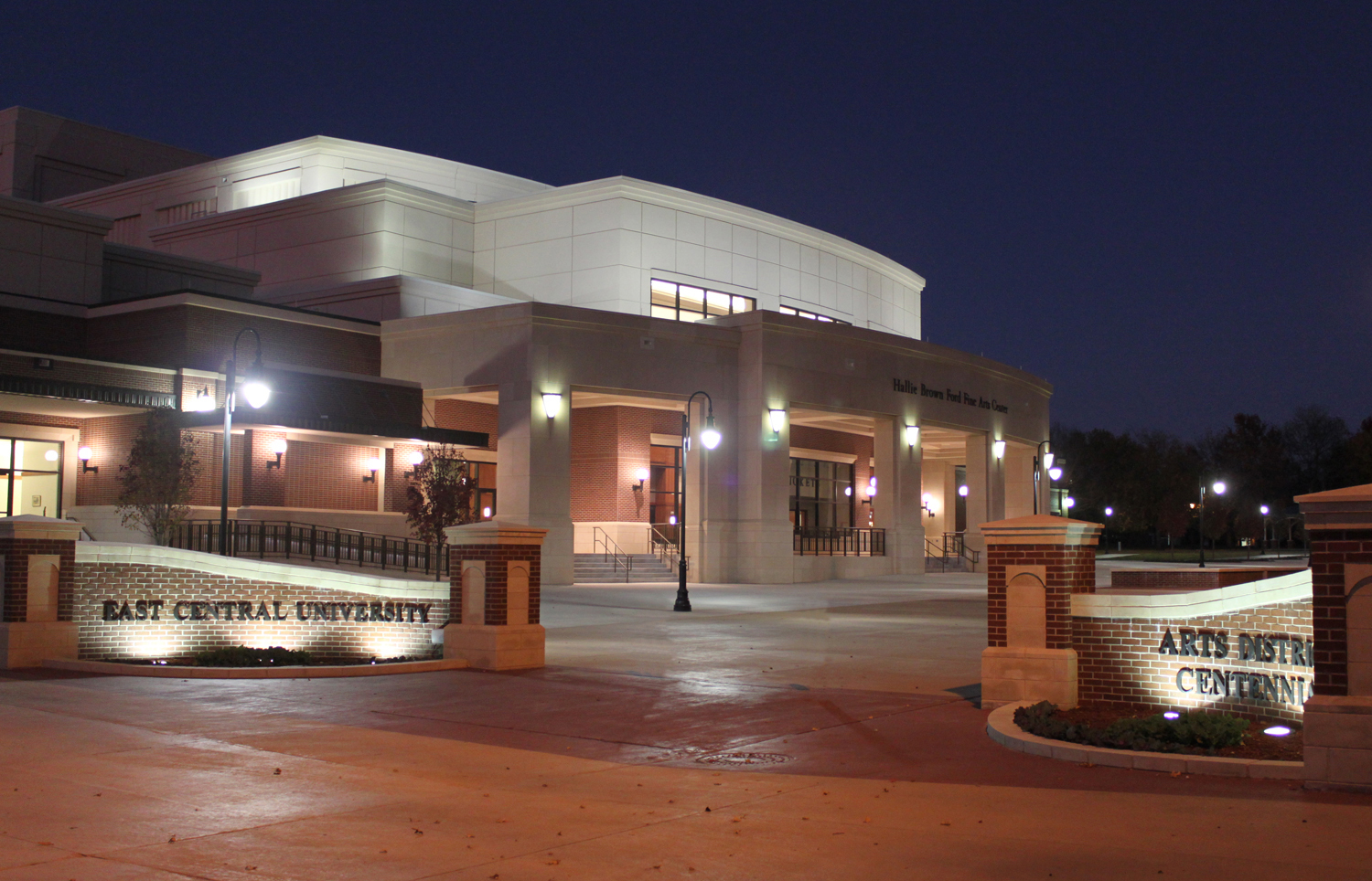 Hallie Brown Ford Fine Arts Center at night.