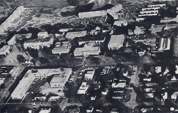 An aerial photograph of East Central State College in 1968.