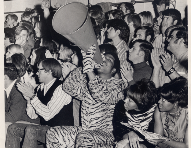 Tiger Mascot at a basketball game, 1971.
