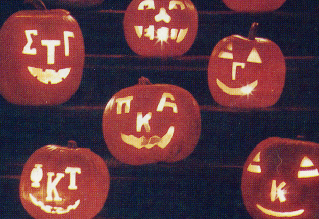 The Greek Organizations carved pumpkins for Halloween 1977.