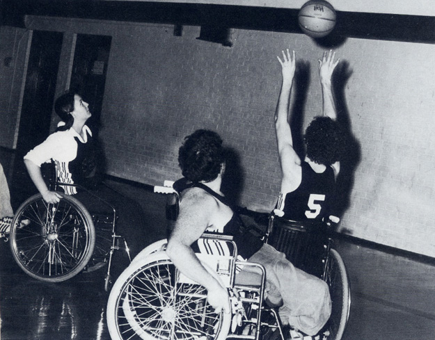 """Super Spokes"" sponsors wheelchair basketball tournament in 1980"