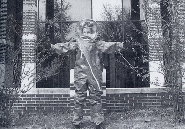 Cody Roberts in his chemical protective suit