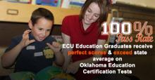 !00% Pass Rate. ECU Education Graduates receive perfect scores and exceed state average on Oklahoma Education Certification Tests