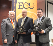 ECU President, John R. Hargrave; CEO of Ada Jobs Foundation, Mike Southard; and Ada City Manager, Cody Holcomb