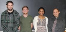 These three East Central University students (from left) Josh Smith, Cody Soden and Laura Blanco-Berdugo, along with Dr. Dane Scott, of the ECU Department of Chemistry, are headed to Washington D.C. later this month to present their work after being awarded a grant from the Environmental Protection Agency last fall.