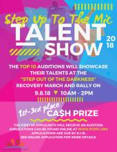"Poster for ""Step Out of the Darkness"" Talent Show"
