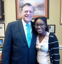 ECU student Ryleigh Cooper with U.S. Congressman Tom Cole.