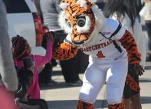 Roary high fives young child