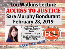 Sara Murphy Bondurant to speak at ECU's Lou Watkins Lecture