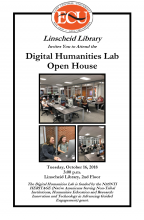 The Linscheid Library is hosting an open house for the new Digital Humanities Lab in the Linscheid Library on the second floor.  The lab is funded by the NASNTI HERITAGE (Native Americans Serving Non-Tribal Institutions, Humanities Education and Research: Innovation and Technology in Advancing Guided Engagement) Grant.