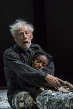 King Lear - Ian McKellen (King Lear) and Anita-Joy Uwajeh (Cordelia) at Duke of Yorks Theatre. Photo by Johan Persson