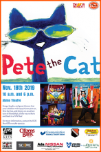 """Pete the Cat"" Nov. 18, 2019 10 a.m. & 6 p.m. Ataloa Theatre Hallie Brown Ford Fine Arts Center"