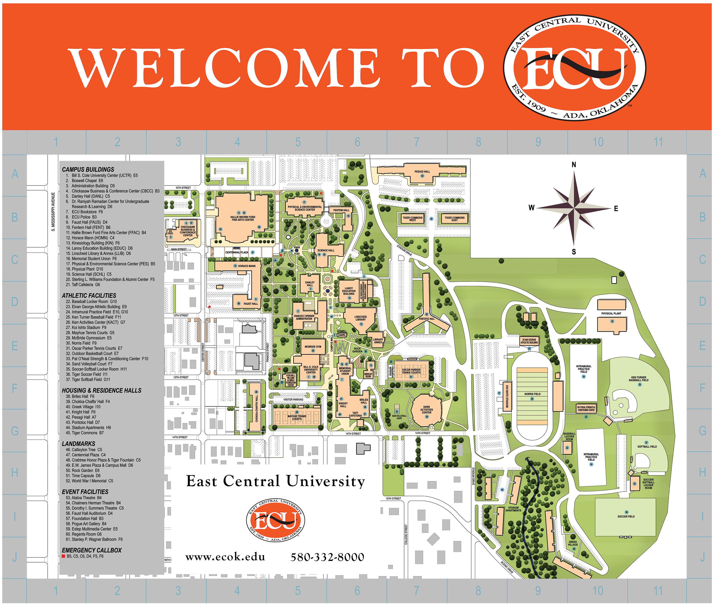 map of ecu campus Campus Map East Central University map of ecu campus