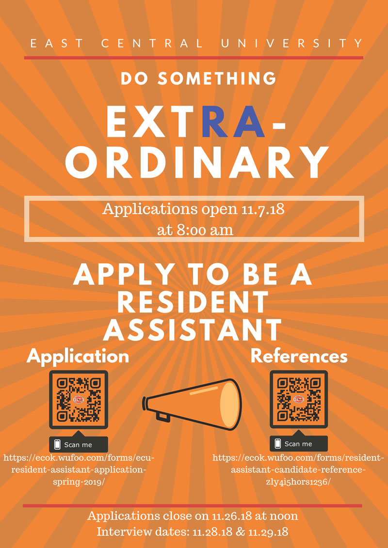 Graphical flyer for resident assistant. Qr codes present. applications open on november 11 2018 at 8am and close on november 26 2018 at noon. interview dates are november 28 and november 29.